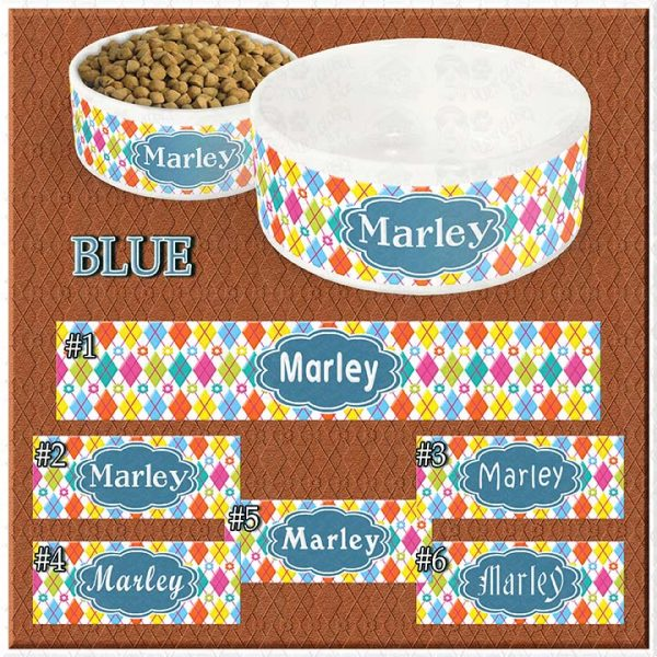 Personalized Custom Name Ceramic Pet Bowl BLUE Argyle and Flowers CHOICES Product Image No1