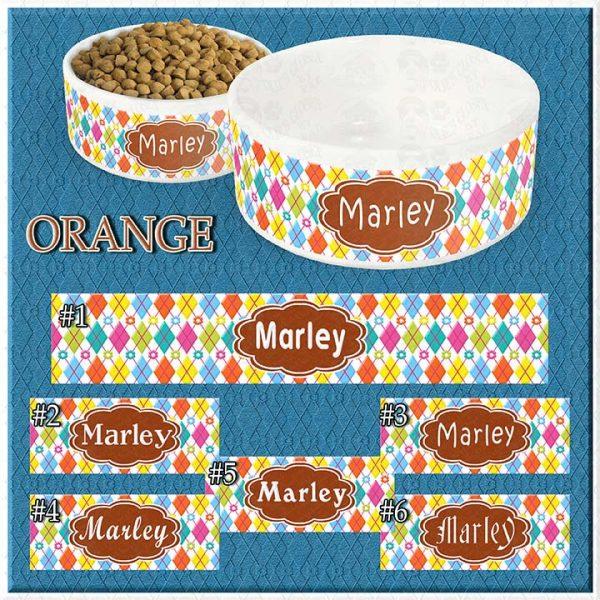 Personalized Custom Name Ceramic Pet Bowl ORANGE Argyle and Flowers CHOICES Product Image No1
