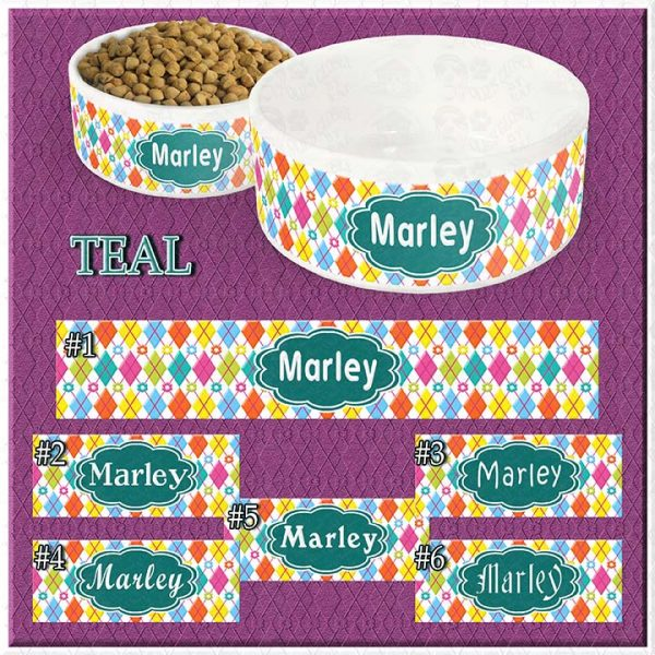 Personalized Custom Name Ceramic Pet Bowl TEAL Argyle and Flowers CHOICES Product Image No1