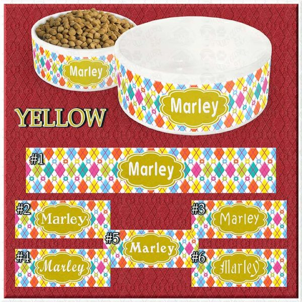 Personalized Custom Name Ceramic Pet Bowl YELLOW Argyle and Flowers CHOICES Product Image No1