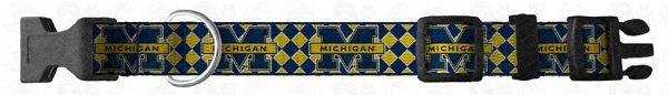 University of Michigan Argyle Dog Collar Design Display Product Image No4
