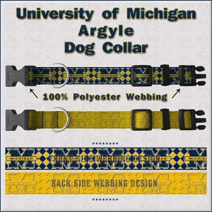 University of Michigan Dog Collar Design Display Product Image No1