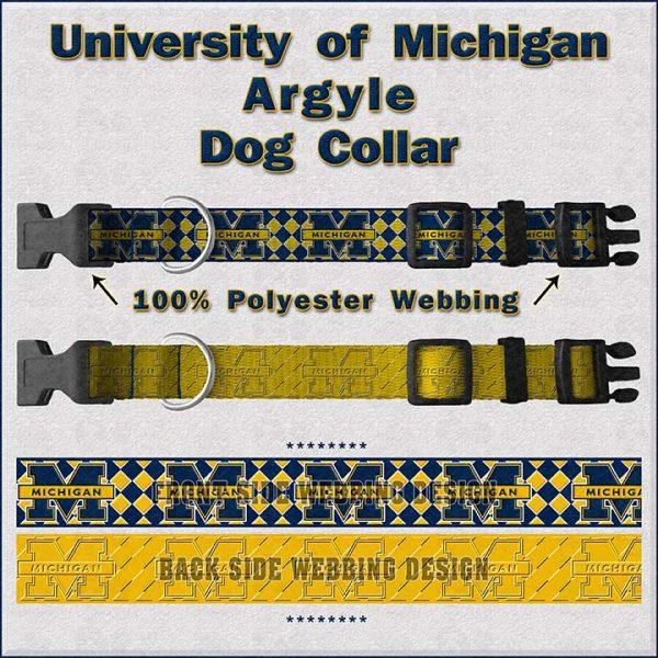 University of Michigan Dog Collar Design Display Product Image No1