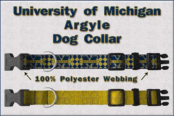 University of Michigan Dog Collar Design Display Product Image No2
