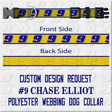 Number 9 Chase Elliot Custom Design Request Dog Collar Product Image No1
