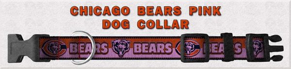 Chicago Bears PINK Polyester Webbing Dog Collar Product Image No1