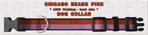 Chicago Bears PINK Polyester Webbing Dog Collar Product Image No5