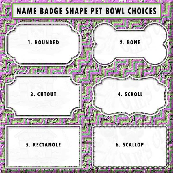 DOG BOWL NAME BADGE SHAPE CHOICES PRODUCT IMAGE