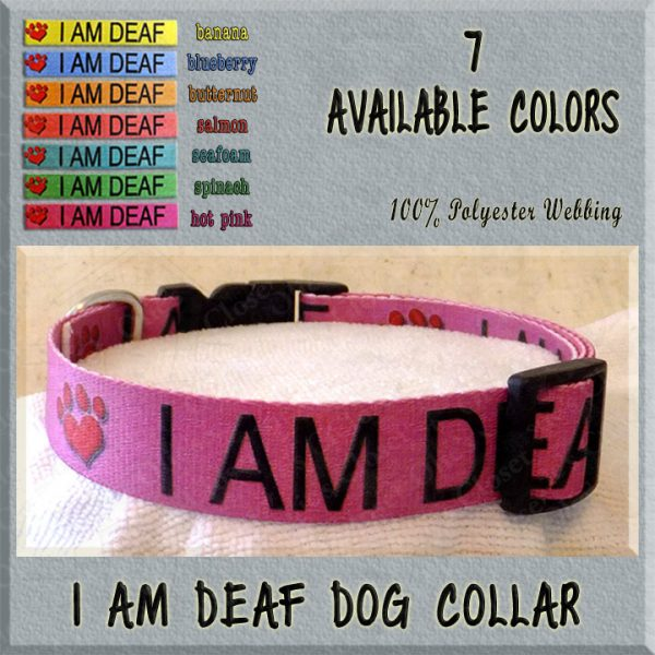 I AM DEAF Polyester Webbing Dog Collar Product Image No2