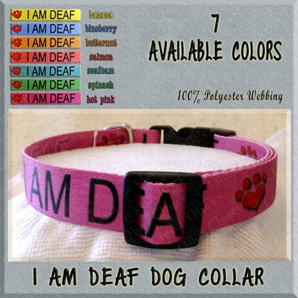 I AM DEAF Polyester Webbing Dog Collar Product Image No3