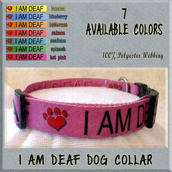 I AM DEAF Polyester Webbing Dog Collar Product Image No4
