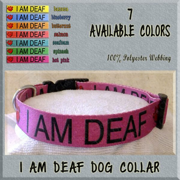 I AM DEAF Polyester Webbing Dog Collar Product Image No5