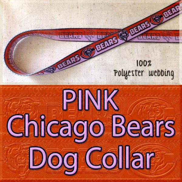 PINK Chicago Bears Polyester Webbing Dog Collar Product Image No1
