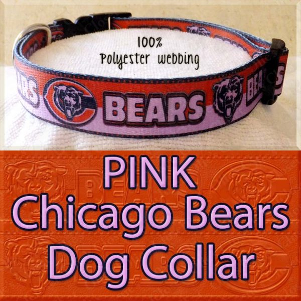 PINK Chicago Bears Polyester Webbing Dog Collar Product Image No2