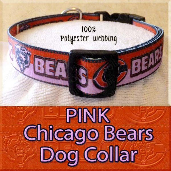 PINK Chicago Bears Polyester Webbing Dog Collar Product Image No3