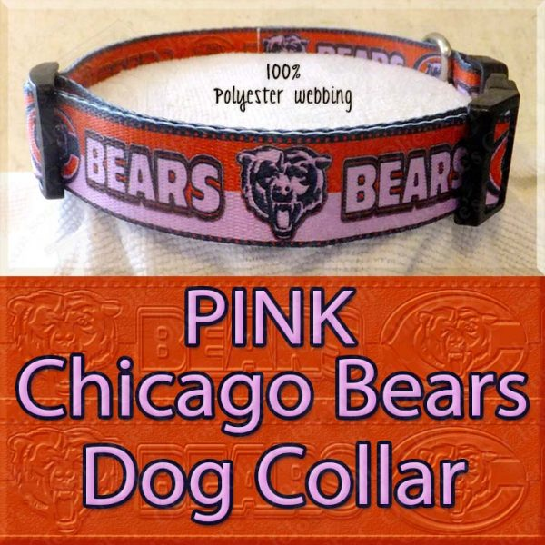 PINK Chicago Bears Polyester Webbing Dog Collar Product Image No4
