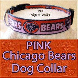 PINK Chicago Bears Polyester Webbing Dog Collar Product Image No5