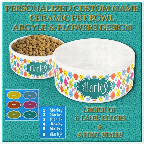 Argyle Flowers Personalized Custom Printed Ceramic Pet Bowl Product Image
