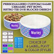 Personalized Custom Name Ceramic Pet Bowl Retro Tie Dye Blocks Product Image No1
