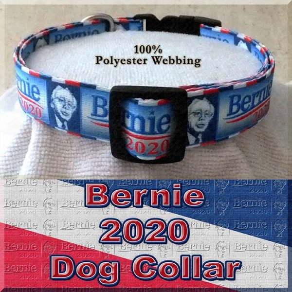 Bernie Sanders for President 2020 Polyester Webbing Dog Collar Product Image No1