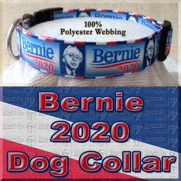 Bernie Sanders for President 2020 Polyester Webbing Dog Collar Product Image No2