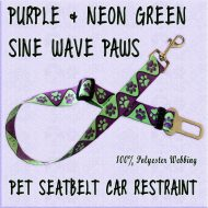 Purple Neon Green Sine Wave Paws WEBBING CAR RESTRAINT Product Image No1