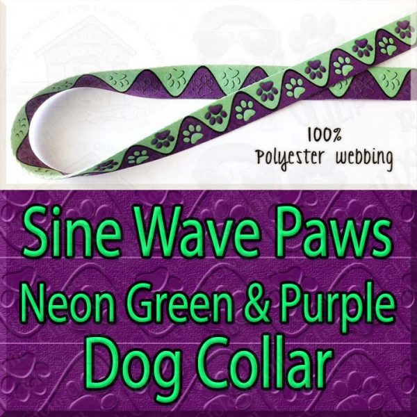 Sine Wave Paws Neon Green and Purple Polyester Webbing Dog Collar Product Image No1