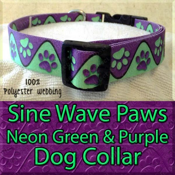 Sine Wave Paws Neon Green and Purple Polyester Webbing Dog Collar Product Image No2