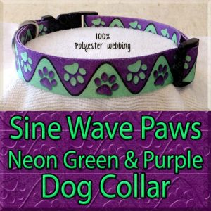 Sine Wave Paws Neon Green and Purple Polyester Webbing Dog Collar Product Image No3