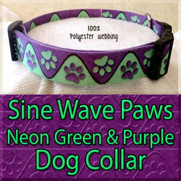 Sine Wave Paws Neon Green and Purple Polyester Webbing Dog Collar Product Image No4
