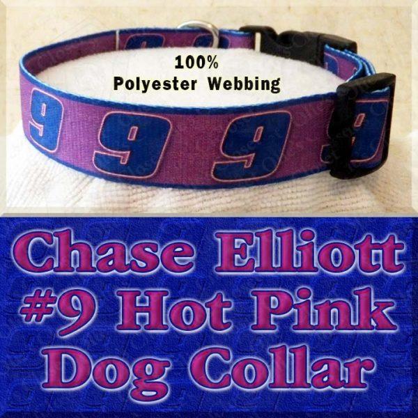 Chase Elliott 9 Hot Pink NASCAR Fan Designer Dog Collar Product Image No3