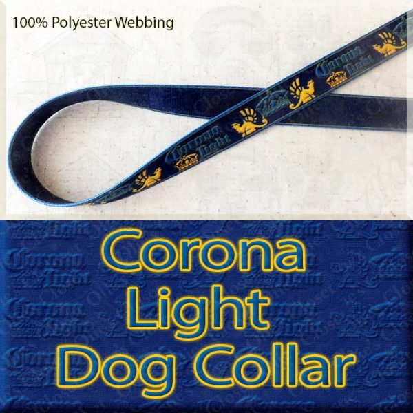 Corona Light Beer Designer Polyester Webbing Dog Collar Product Image No1