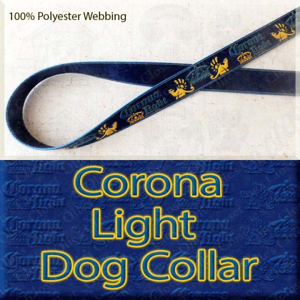 Corona Light Beer Designer Polyester Webbing Dog Collar Product Image No1