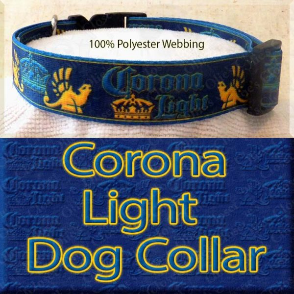 Corona Light Beer Designer Polyester Webbing Dog Collar Product Image No2