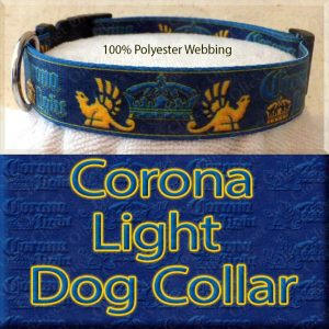 Corona Light Beer Designer Polyester Webbing Dog Collar Product Image No3