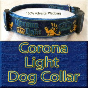 Corona Light Beer Designer Polyester Webbing Dog Collar Product Image No4