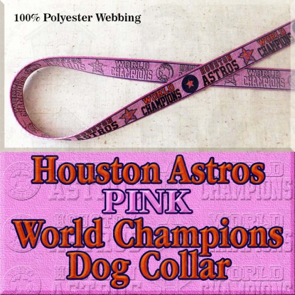 Pink Houston Astros World Champions Dog Collar Product Image No1