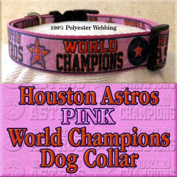 Pink Houston Astros World Champions Dog Collar Product Image No2