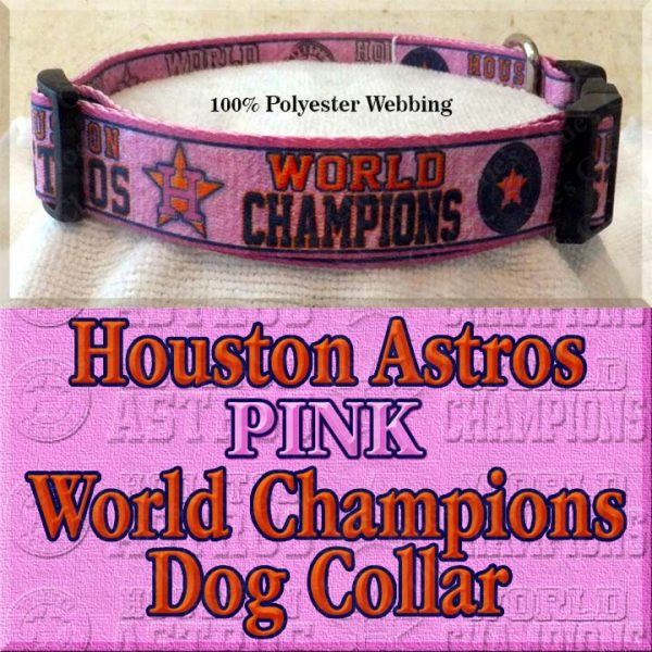 Pink Houston Astros World Champions Dog Collar Product Image No3