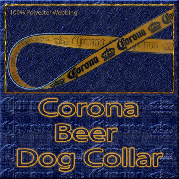 Corona Beer Designer Polyester Webbing Dog Collar Product Image No1