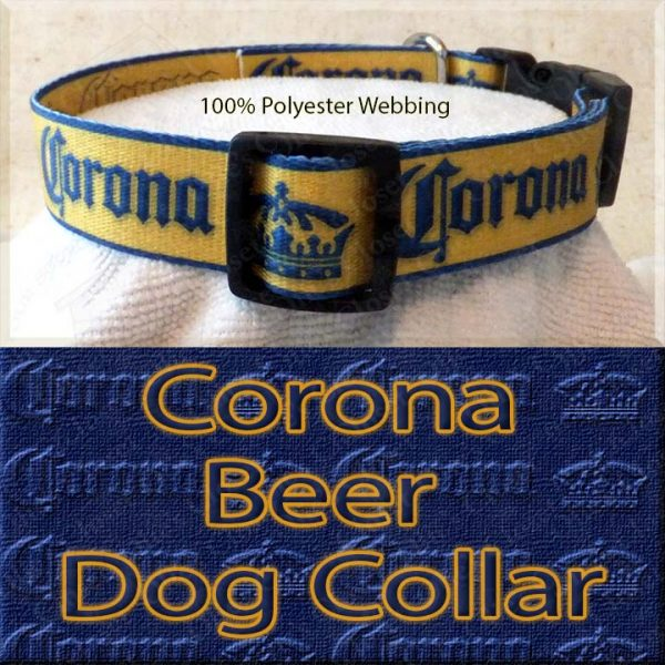 Corona Beer Designer Polyester Webbing Dog Collar Product Image No3