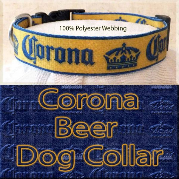 Corona Beer Designer Polyester Webbing Dog Collar Product Image No4