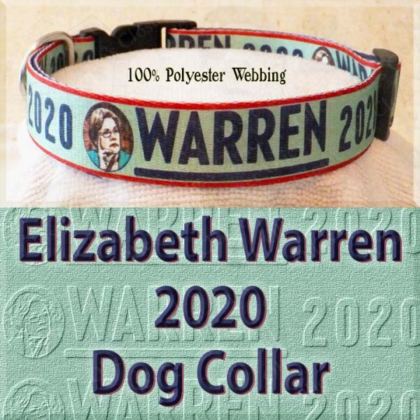 Elizabeth Warren 2020 Polyester Webbing Dog Collar Product Image No2