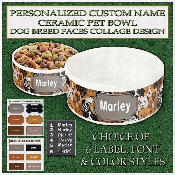 Personalized Custom Name Ceramic Pet Dog Breed Faces Collage Product Image No1