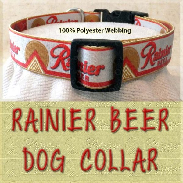 Rainier Beer Custom Designed Polyester Webbing Dog Collar Product Image No2