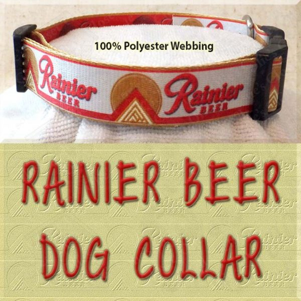 Rainier Beer Custom Designed Polyester Webbing Dog Collar Product Image No4