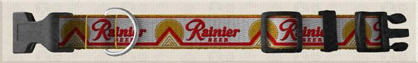 Rainier Beer Front Side Custom Designed Polyester Webbing Dog Collar Product Image No2