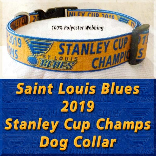 Saint St Louis Blues 2019 NHL Stanley Cup Champions Designer Polyester Webbing Dog Collar Product Image No2