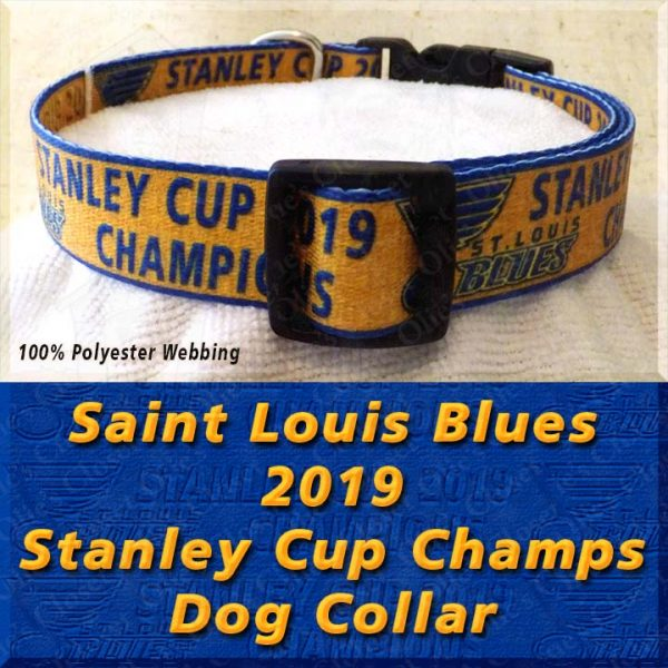 Saint St Louis Blues 2019 NHL Stanley Cup Champions Designer Polyester Webbing Dog Collar Product Image No3