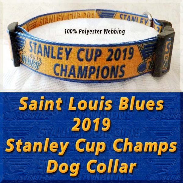 Saint St Louis Blues 2019 NHL Stanley Cup Champions Designer Polyester Webbing Dog Collar Product Image No4